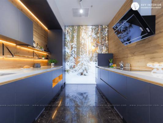 Tủ bếp song song thiết kế thông minh